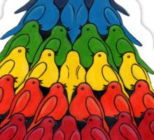 Rainbow Robins Christmas Tree Tee Sticker