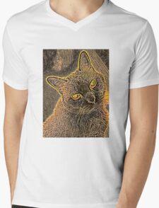 Pet the Kitty Mens V-Neck T-Shirt