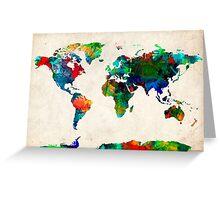World Map watercolor Greeting Card