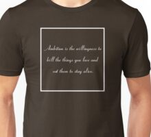 30 Rock Inspired Brown TV Show Jack Donaghy Quote, Ambition Unisex T-Shirt