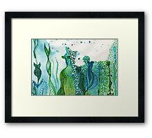 ocean water colour and ink Framed Print