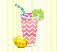 Cute Pink Chevron Lemonade with Lime Slice Stripes by Blkstrawberry