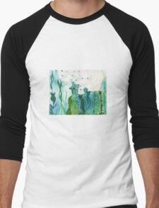 ocean water colour and ink Men's Baseball ¾ T-Shirt