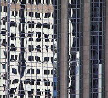 Skyscraper Reflections Detail #2 from Harbour Tower, Vancouver City, Canada  by Carole-Anne