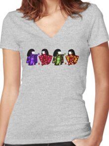 Sadako Rainbow Tee Women's Fitted V-Neck T-Shirt