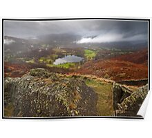 Clouds clearing over Loughrigg Tarn Poster
