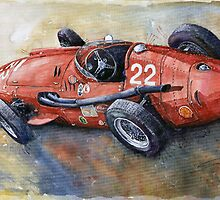 Red Sport Cars in Watercolour by shevchukart by Yuriy Shevchuk