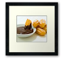 Churros in chocolate sauce Framed Print