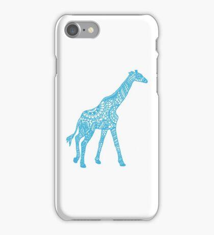 Printed Giraffe - Blue iPhone Case/Skin