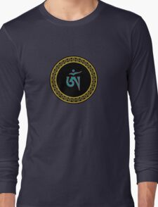 Tibetan Om Symbol in Jewel Ring Mandala Long Sleeve T-Shirt