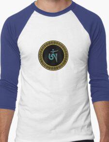Tibetan Om Symbol in Jewel Ring Mandala Men's Baseball ¾ T-Shirt