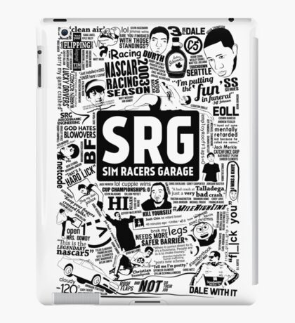 Sim Racers Garage Collage - Black w/ White Products iPad Case/Skin