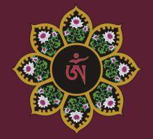 Tibetan Om Symbol in Lotus Mandala by bodhicittatees