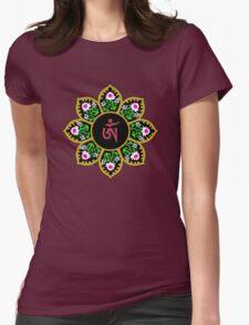 Tibetan Om Symbol in Lotus Mandala Womens Fitted T-Shirt