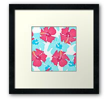 pattern with hibiscus  Framed Print