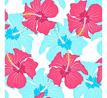 pattern with hibiscus  Photographic Print