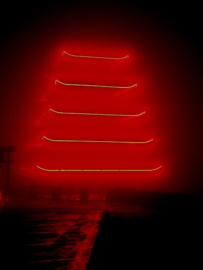 The Pagoda in Fog! by Lisa Brower