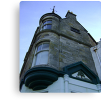the waiting windows (glass and stone curved, turret, Burntisland) Canvas Print