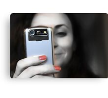Woman with her Cell Phone  Canvas Print