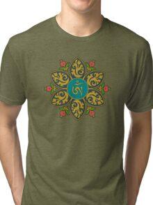 Tibetan Om Symbol in Flame Mandala Tri-blend T-Shirt
