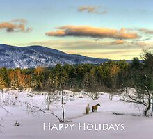 2 Horses Happy Holidays by Wayne King