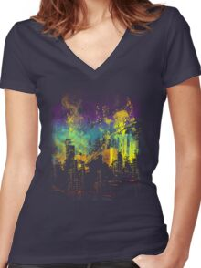 grid city Women's Fitted V-Neck T-Shirt