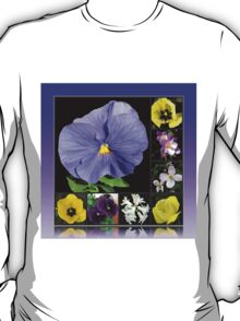 Spring Flowers Collage in Blue and Yellow T-Shirt