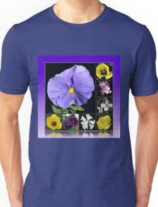 Spring Flowers Collage in Blue and Yellow Unisex T-Shirt