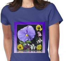 Spring Flowers Collage in Blue and Yellow Womens Fitted T-Shirt