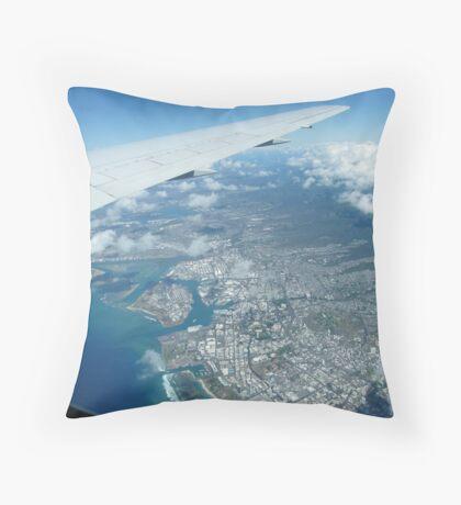Flying into Honolulu, Hawaii  Throw Pillow