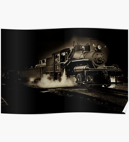Sepia toned steam train Poster
