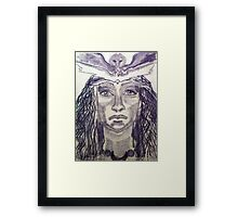 Woman Warrior -Touch Drawing on paper Framed Print