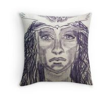 Woman Warrior -Touch Drawing on paper Throw Pillow