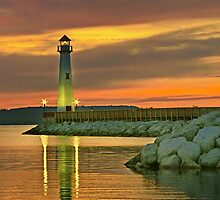 Wawatam Lighthouse in St. Ignace, Michigan by John Absher