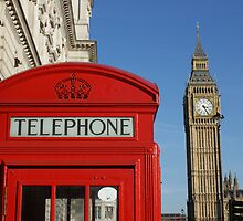London, red white and blue, Big Ben, Telephone Box by Tim Cross