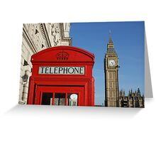 London, red white and blue, Big Ben, Telephone Box Greeting Card