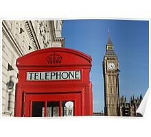 London, red white and blue, Big Ben, Telephone Box Poster