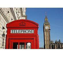London, red white and blue, Big Ben, Telephone Box Photographic Print