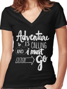 Adventure is Calling - White Women's Fitted V-Neck T-Shirt