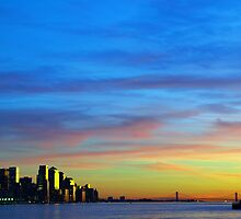 new york city downtown sunset cityscape skyline, from new jersey hudson river side, nyc, usa by Noel Moore Up The Banner Photography