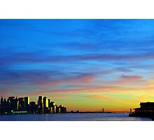 new york city downtown sunset cityscape skyline, from new jersey hudson river side, nyc, usa Photographic Print