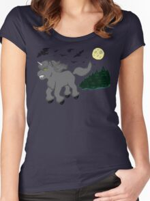 Horror Movie Unicorns: Wolfman Women's Fitted Scoop T-Shirt