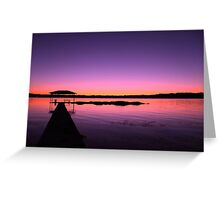 Purple sunset over the lake Greeting Card