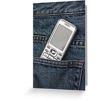 Cellphone in blue jeans Greeting Card
