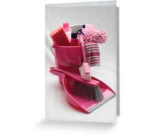 pink cleaning gear Greeting Card