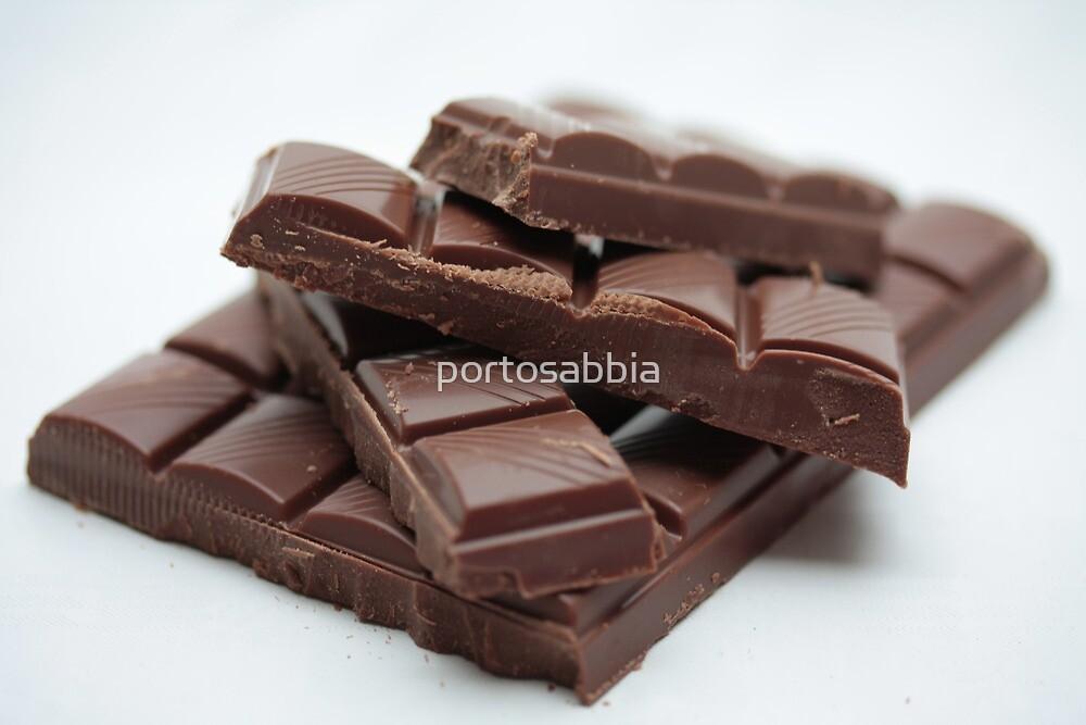 Milk Chocolate bar pieces by portosabbia