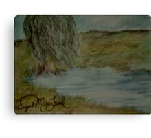 Willow Pond Oil Pastel Canvas Print