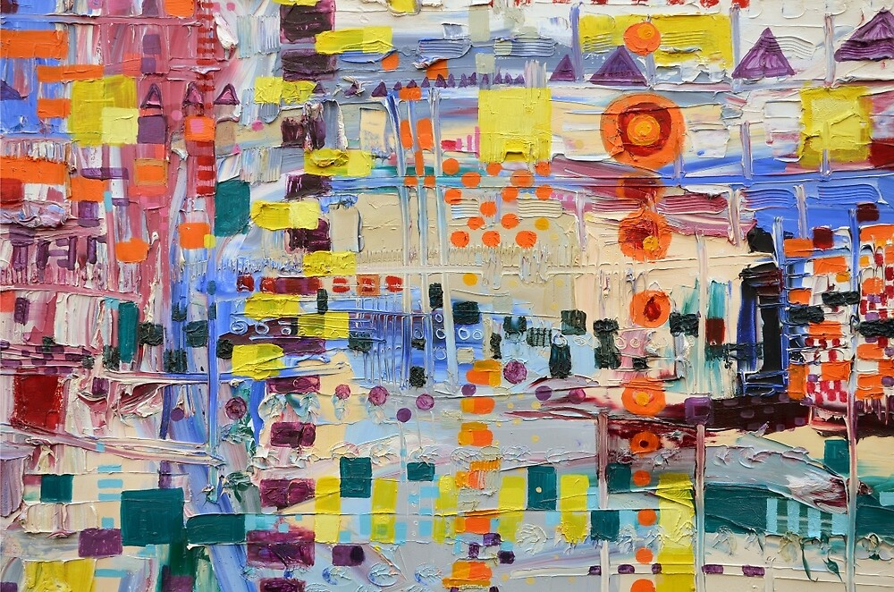 Horn Solo, abstract original oil painting on canvas by Regina Valluzzi
