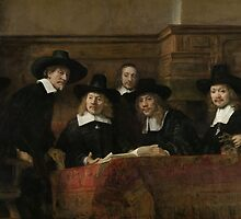 Painting - The Wardens of the Amsterdam Drapers' Guild, Known as 'The Syndics', Rembrandt Harmensz. van Rijn, 1662 by wetdryvac