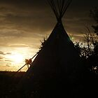 Sunset with a Tepee Silhouette by Peter Beug